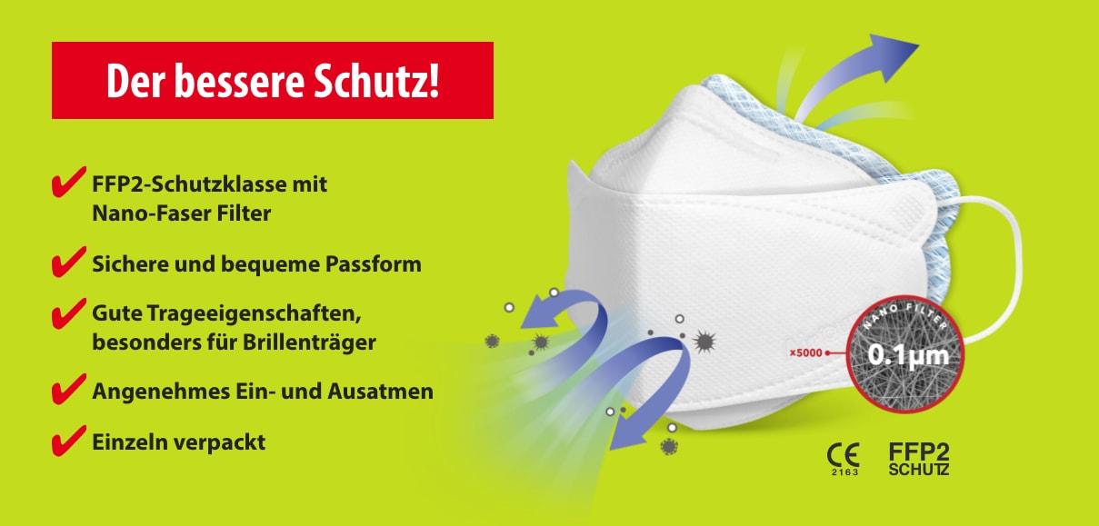 FFP2 Atemschutzmaske - sehr komfortabel